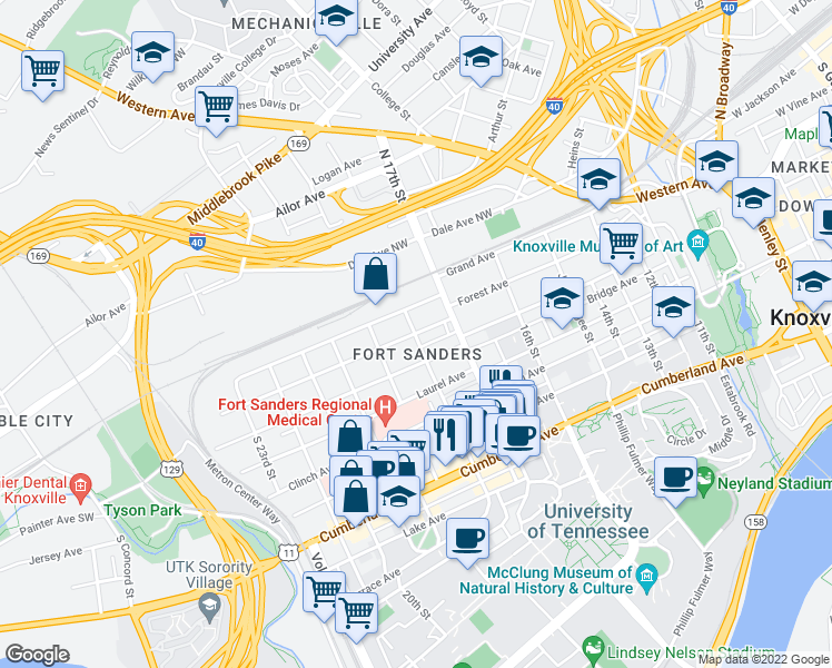 map of restaurants, bars, coffee shops, grocery stores, and more near Forest Avenue in Knoxville
