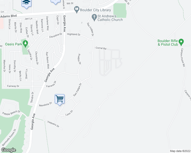 map of restaurants, bars, coffee shops, grocery stores, and more near 1447 San Felipe Drive in Boulder City