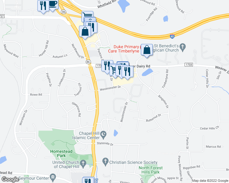 map of restaurants, bars, coffee shops, grocery stores, and more near 200 Westminster Drive in Chapel Hill