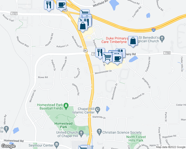 map of restaurants, bars, coffee shops, grocery stores, and more near 1616 Martin luther King Junior Boulevard in Chapel Hill