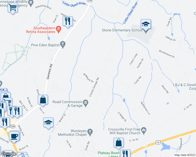 map of restaurants, bars, coffee shops, grocery stores, and more near 2 Rusty Blue Drive in Crossville