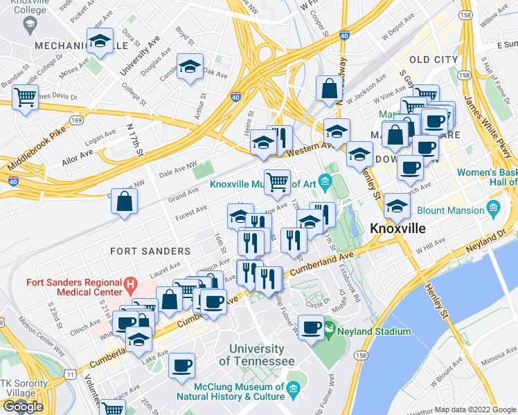 map of restaurants, bars, coffee shops, grocery stores, and more near Bridge A