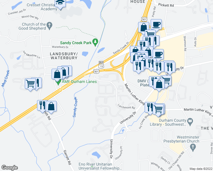 map of restaurants, bars, coffee shops, grocery stores, and more near Alexan Drive in Durham