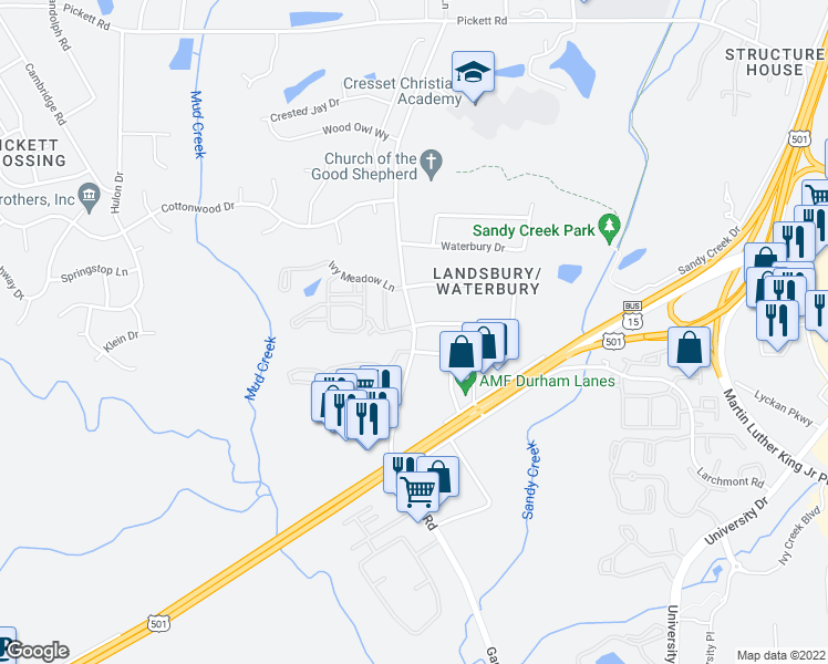 map of restaurants, bars, coffee shops, grocery stores, and more near Garrett Rd & Ivy Meadow Ln in Durham