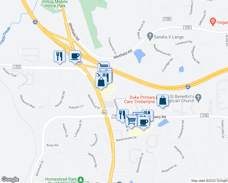 map of restaurants, bars, coffee shops, grocery stores, and more near 826 Perkins Drive in Chapel Hill