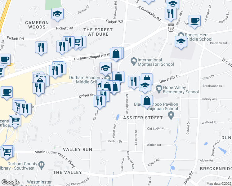 map of restaurants, bars, coffee shops, grocery stores, and more near University Dr & Chapel Hill Rd in Durham
