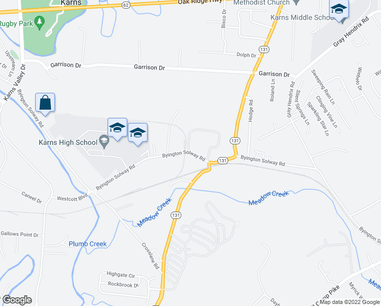 map of restaurants, bars, coffee shops, grocery stores, and more near 2641 Byington Solway Road in Knoxville
