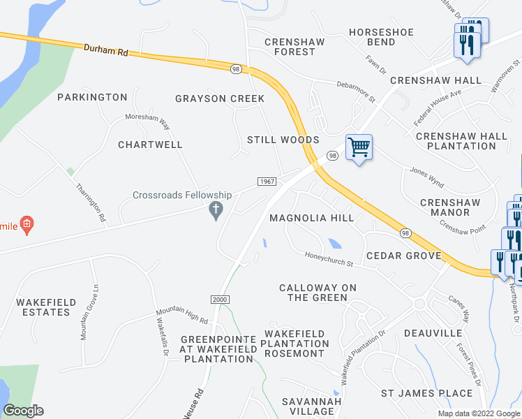 map of restaurants, bars, coffee shops, grocery stores, and more near 2534 Spring Oaks Way in Raleigh