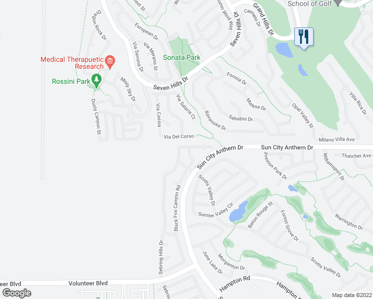 map of restaurants, bars, coffee shops, grocery stores, and more near 3021 Canton Hills Street in Henderson