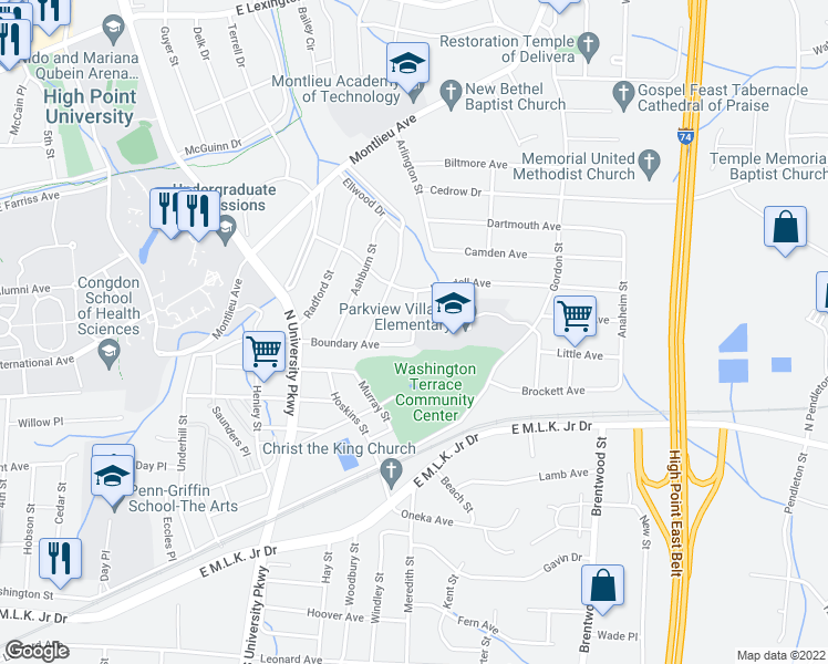 map of restaurants, bars, coffee shops, grocery stores, and more near 1202 Wendell Avenue in High Point