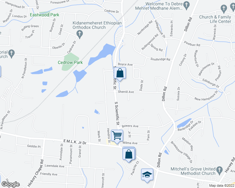 map of restaurants, bars, coffee shops, grocery stores, and more near Sherrill Ave in High Point