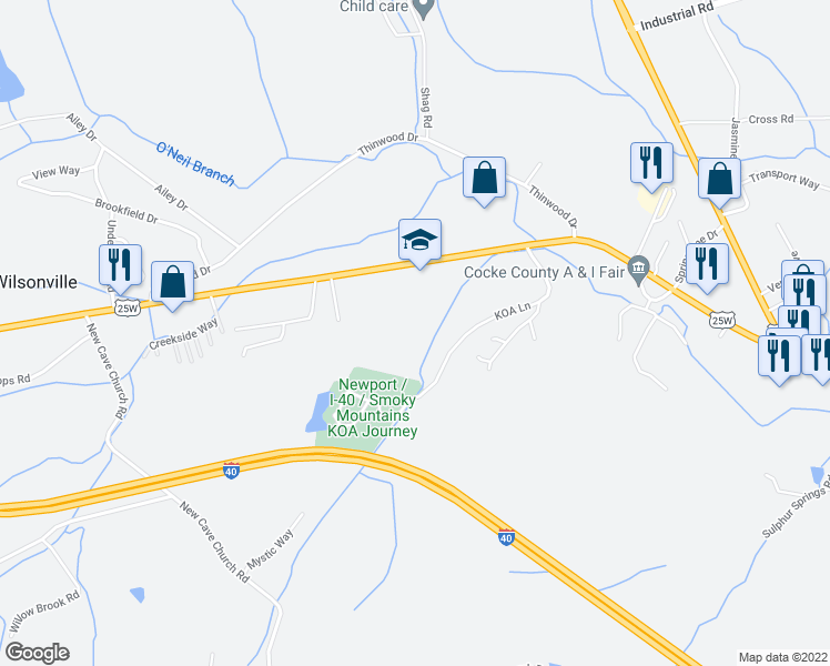 map of restaurants, bars, coffee shops, grocery stores, and more near 851 West Highway 25 70 in Newport