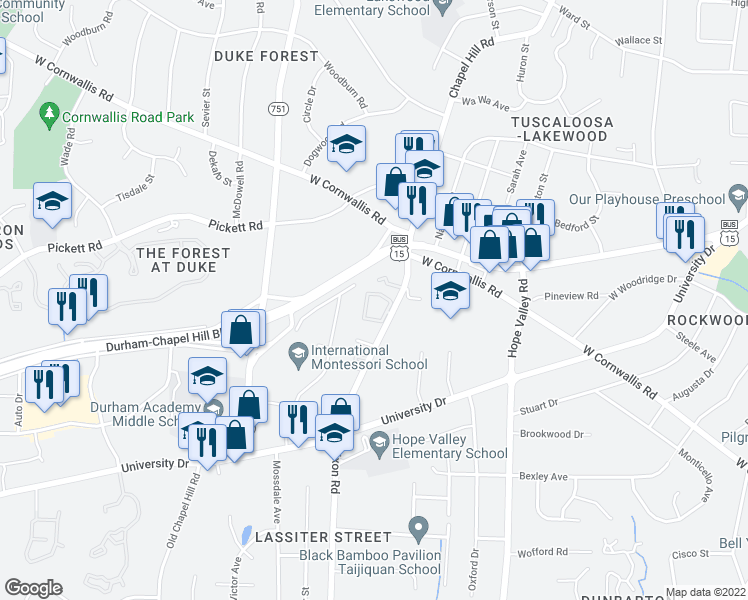 map of restaurants, bars, coffee shops, grocery stores, and more near 2836 Chapel Hill Road in Durham