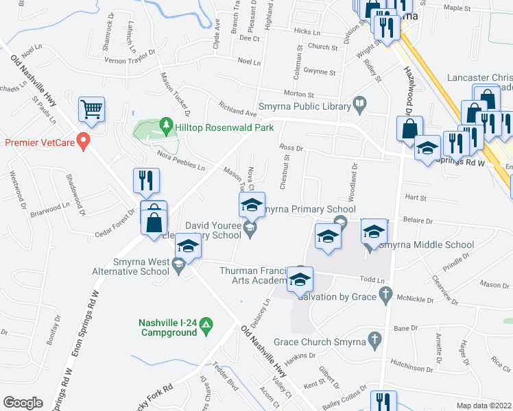 map of restaurants, bars, coffee shops, grocery stores, and more near 606 Nova Court in Smyrna