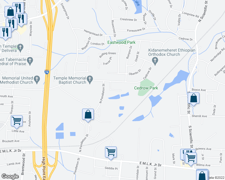 map of restaurants, bars, coffee shops, grocery stores, and more near 1666 Carthage Lane in High Point
