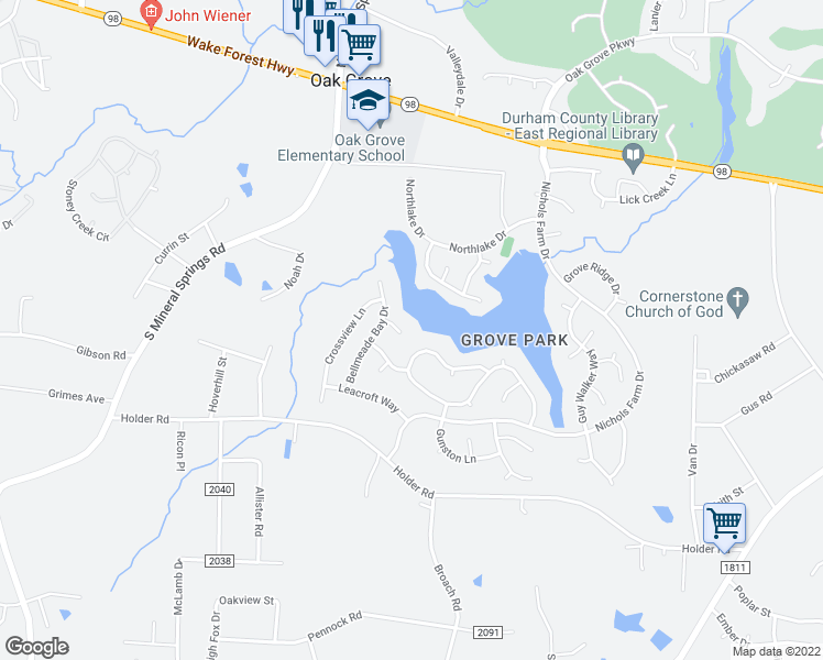 map of restaurants, bars, coffee shops, grocery stores, and more near 10 Marsh Landing Court in Durham
