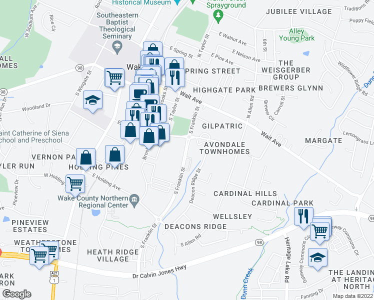 map of restaurants, bars, coffee shops, grocery stores, and more near 420 Elm Avenue in Wake Forest