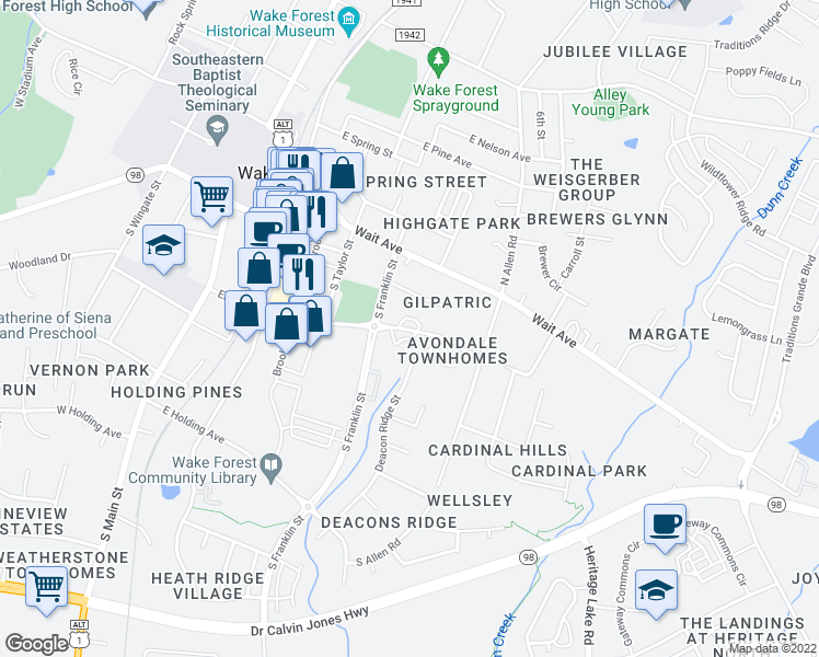 map of restaurants, bars, coffee shops, grocery stores, and more near 512 Elm Avenue in Wake Forest