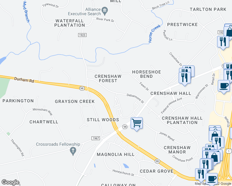 map of restaurants, bars, coffee shops, grocery stores, and more near Debarmore Street in Wake Forest