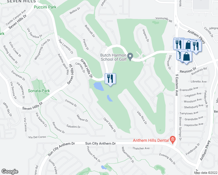 map of restaurants, bars, coffee shops, grocery stores, and more near 2851 Grand Hills Drive in Henderson