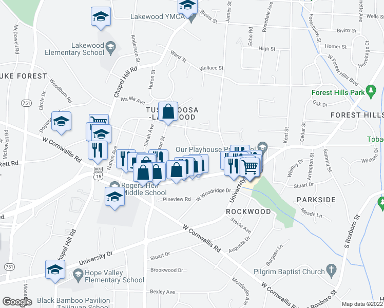 map of restaurants, bars, coffee shops, grocery stores, and more near 2076-2132 Bedford Street in Durham