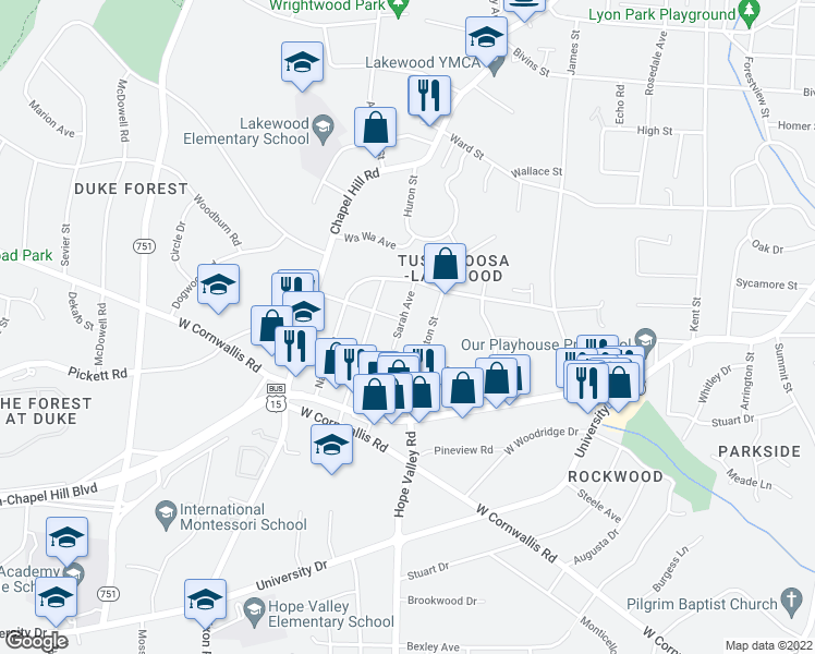 map of restaurants, bars, coffee shops, grocery stores, and more near 2701 Sarah Avenue in Durham