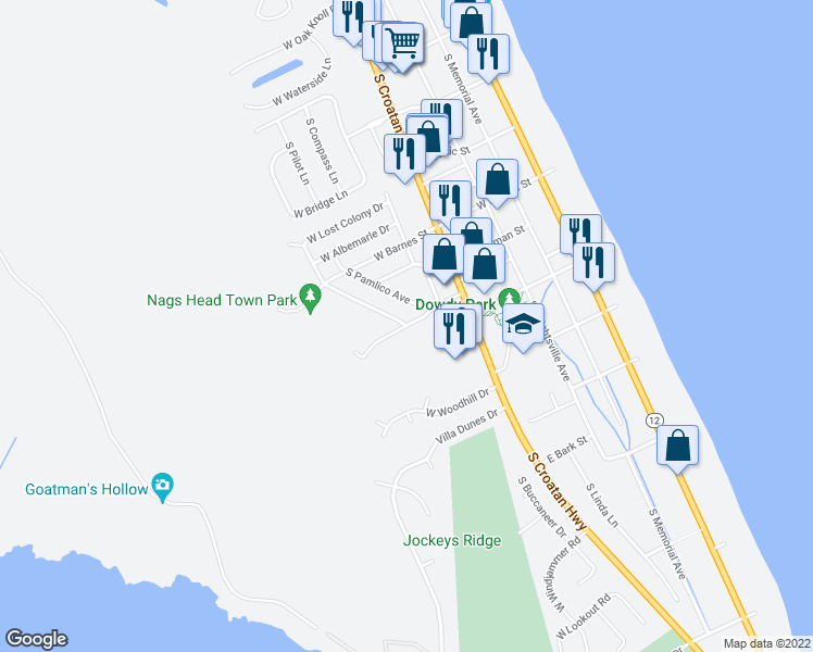 map of restaurants, bars, coffee shops, grocery stores, and more near West Blue Jay Street in Nags Head