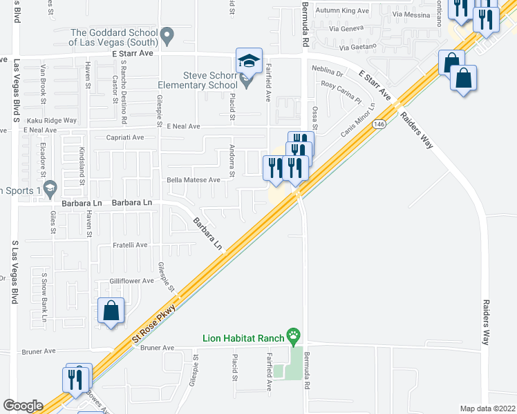map of restaurants, bars, coffee shops, grocery stores, and more near 329 Welsh Mist Court in Las Vegas