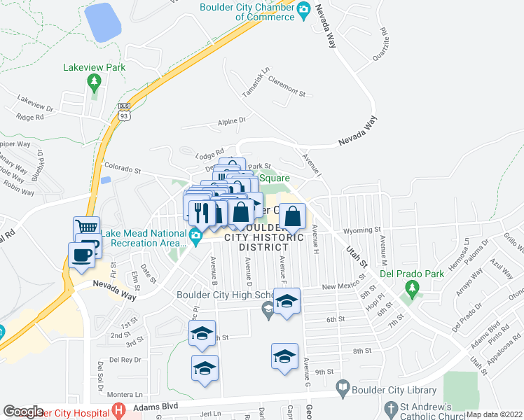map of restaurants, bars, coffee shops, grocery stores, and more near 549 California Avenue in Boulder City