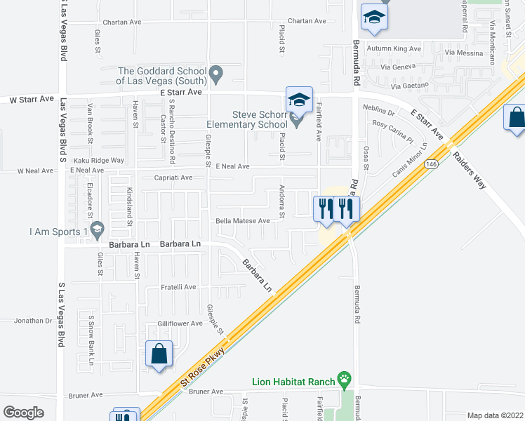 map of restaurants, bars, coffee shops, grocery stores, and more near 275 Calvino Avenue in Las Vegas
