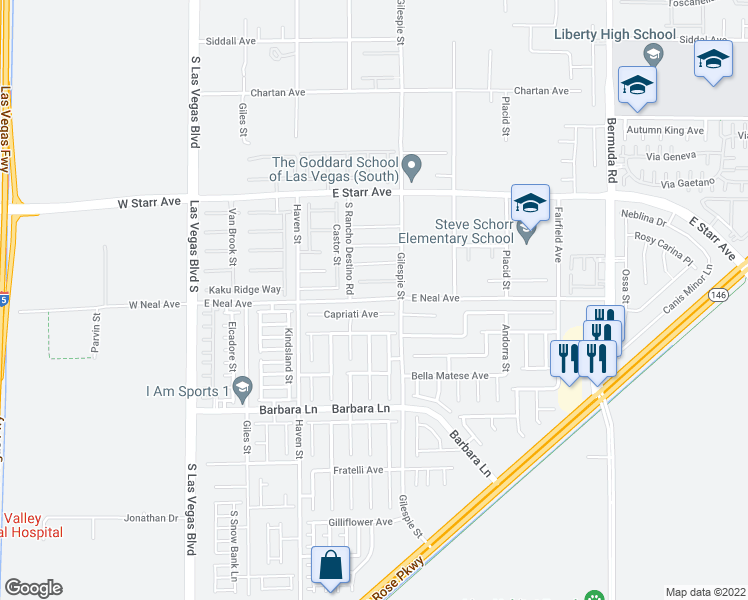 map of restaurants, bars, coffee shops, grocery stores, and more near 172 East Neal Avenue in Las Vegas