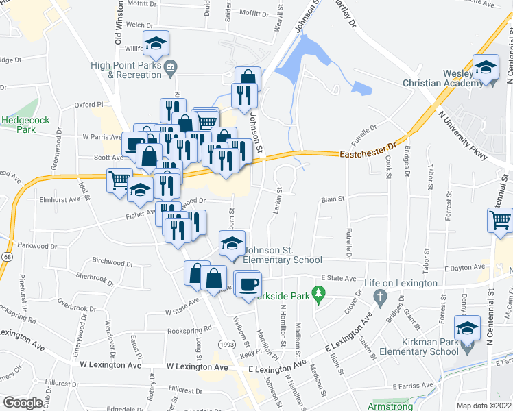 map of restaurants, bars, coffee shops, grocery stores, and more near 132 East State Avenue in High Point