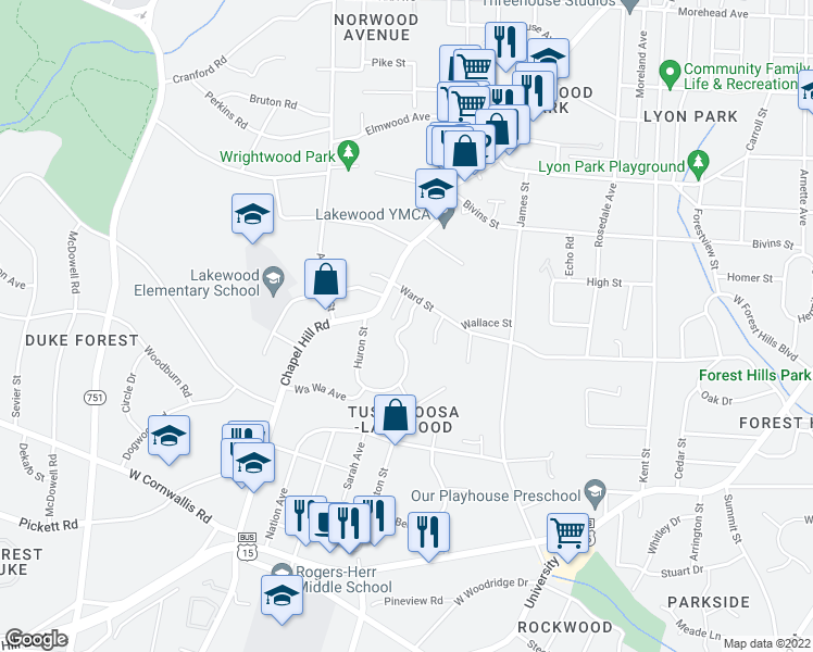 map of restaurants, bars, coffee shops, grocery stores, and more near 2312 Huron Street in Durham
