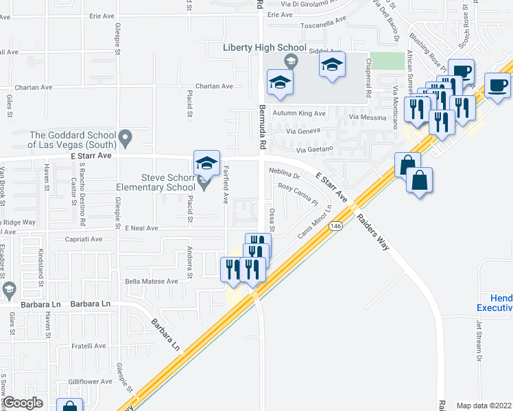 map of restaurants, bars, coffee shops, grocery stores, and more near 11425 Bermuda Road in Henderson