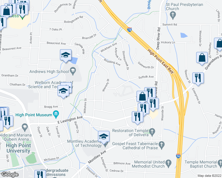 map of restaurants, bars, coffee shops, grocery stores, and more near 2000-2205 Suffolk Avenue in High Point