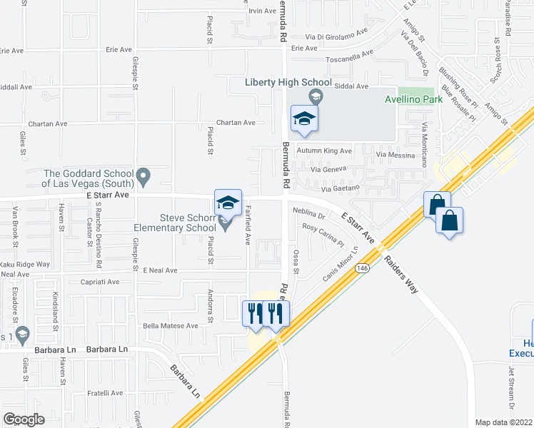 map of restaurants, bars, coffee shops, grocery stores, and more near 375 East Starr Avenue in Las Vegas