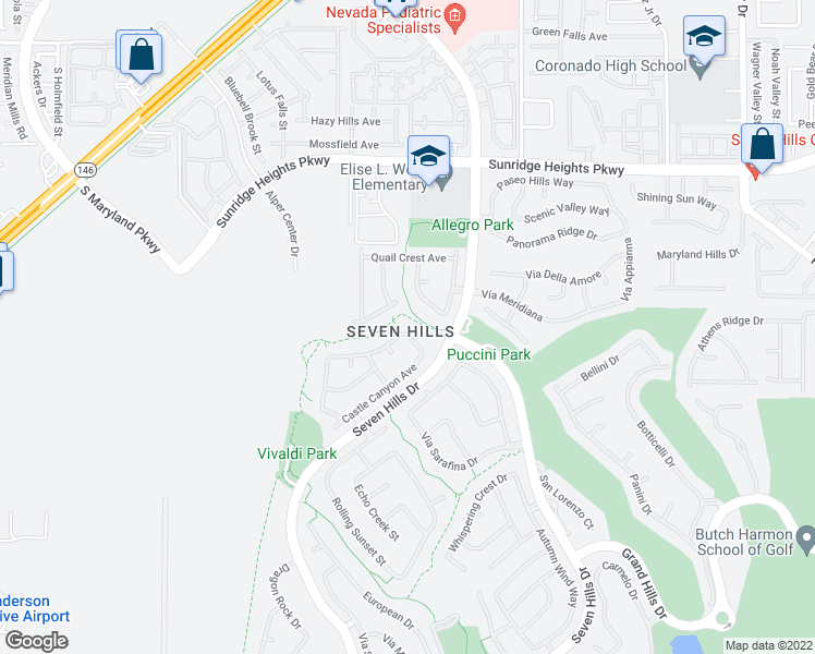 map of restaurants, bars, coffee shops, grocery stores, and more near 1234 Emerald Crest Street in Henderson