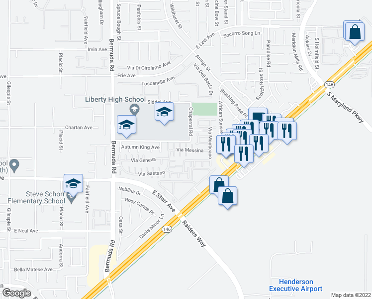 map of restaurants, bars, coffee shops, grocery stores, and more near Via Fellini in Henderson