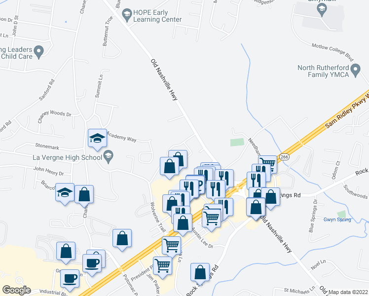 map of restaurants, bars, coffee shops, grocery stores, and more near 14531 Old Nashville Highway in Smyrna