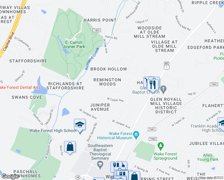 map of restaurants, bars, coffee shops, grocery stores, and more near Abercrombie Road in Wake Forest
