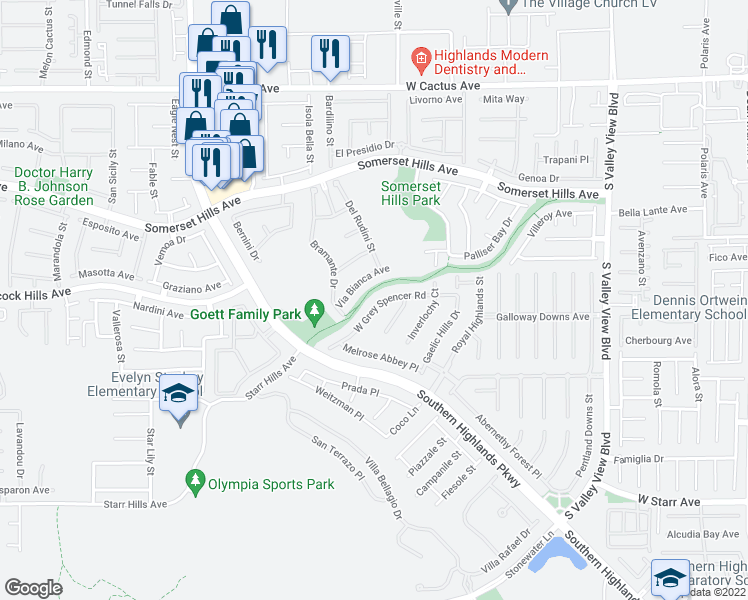map of restaurants, bars, coffee shops, grocery stores, and more near 4420 Grey Spencer Drive in Las Vegas