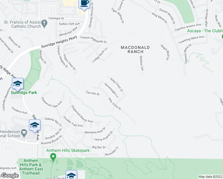 map of restaurants, bars, coffee shops, grocery stores, and more near Havensight Lane in Henderson