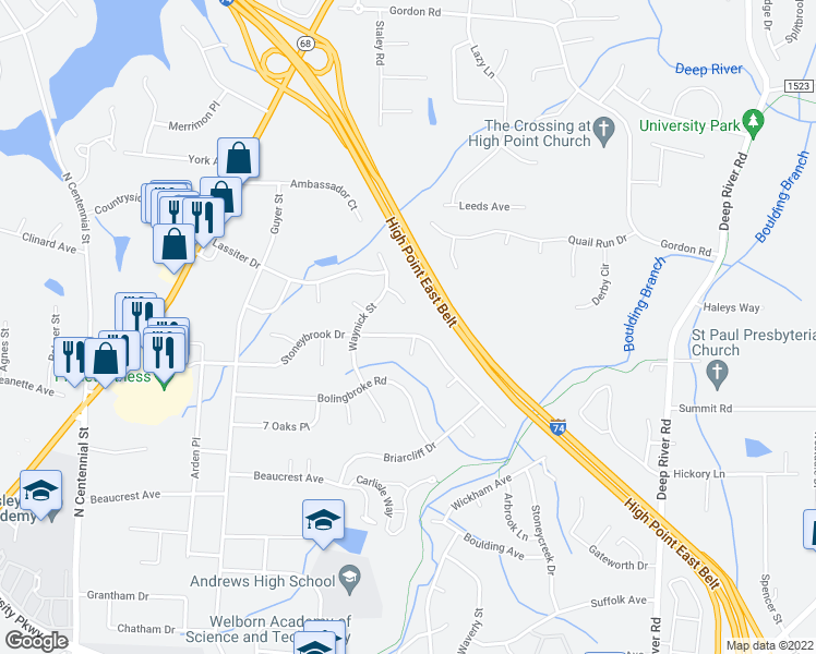 map of restaurants, bars, coffee shops, grocery stores, and more near 1710 Hanover Court in High Point