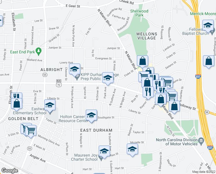 map of restaurants, bars, coffee shops, grocery stores, and more near 1410 Holloway Street in Durham