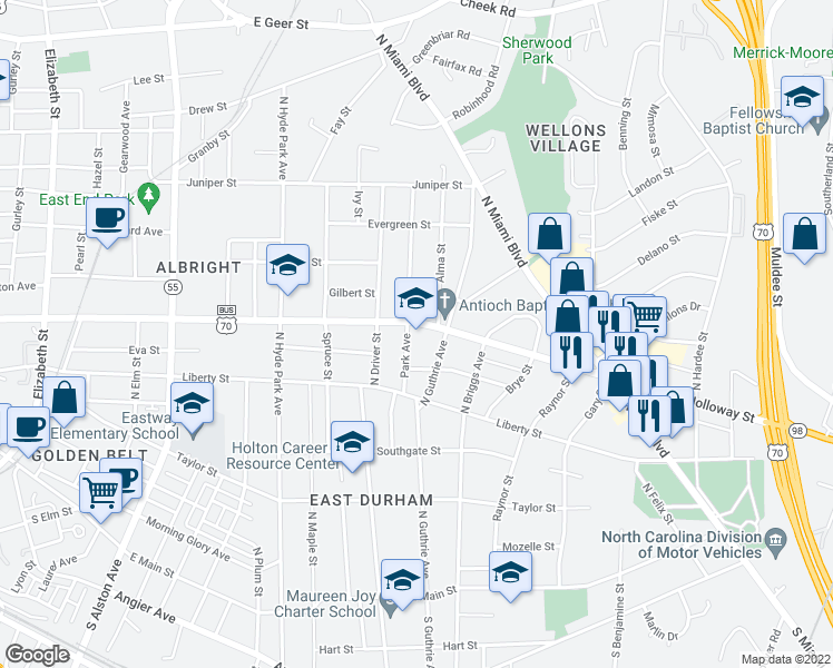 map of restaurants, bars, coffee shops, grocery stores, and more near 1404 Holloway Street in Durham