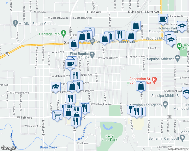 map of restaurants, bars, coffee shops, grocery stores, and more near 409 South Elm Street in Sapulpa