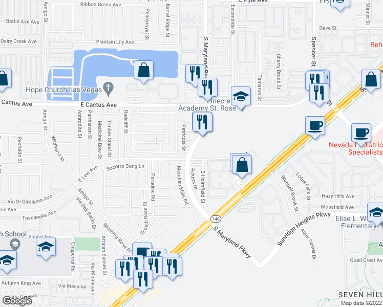 map of restaurants, bars, coffee shops, grocery stores, and more near 10925 S Maryland Pkwy in Henderson