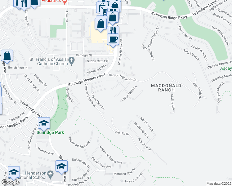 map of restaurants, bars, coffee shops, grocery stores, and more near 2224 Overlook Canyon Lane in Henderson