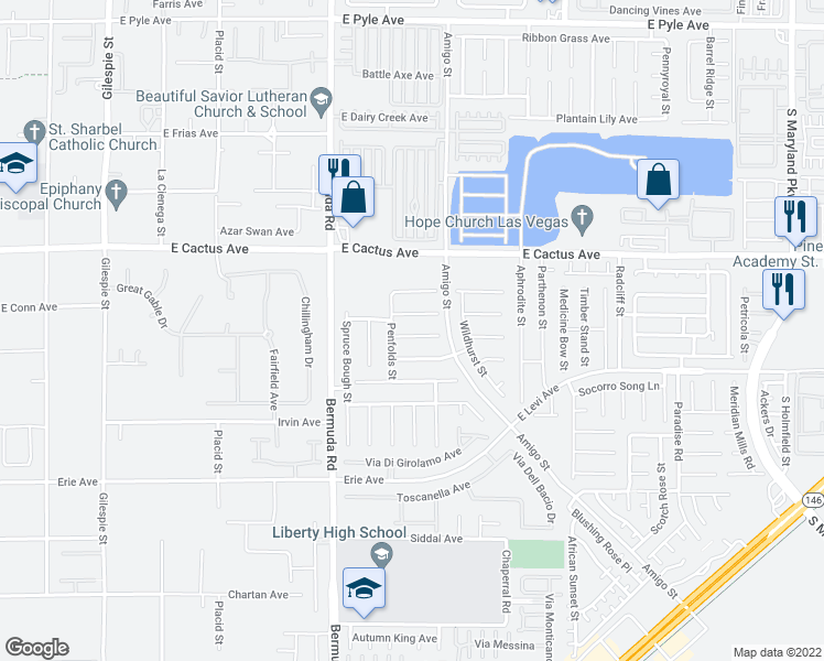 map of restaurants, bars, coffee shops, grocery stores, and more near 534 Campus Oaks Court in Las Vegas