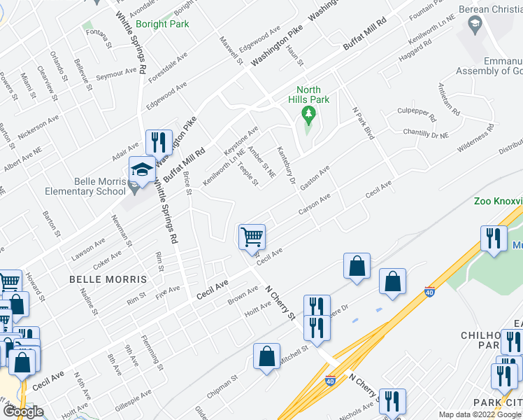 map of restaurants, bars, coffee shops, grocery stores, and more near 2635 Gaston Avenue in Knoxville